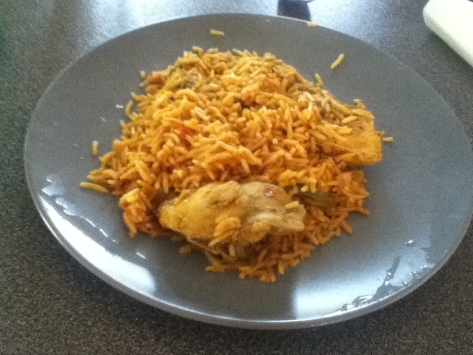 This is supposedly traditional arabic food. I believe there was cynamon in the rice. Very interesting flavor.