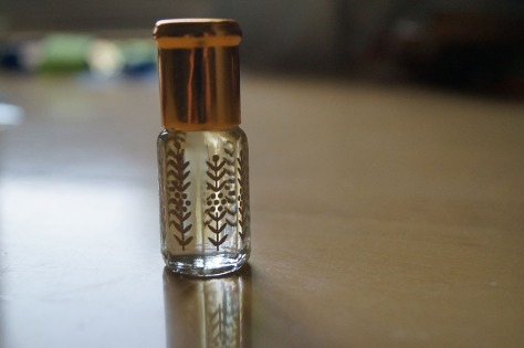 Jasmine perfume oil. I smelled lke a Saudi perfume factory by the time I went out of the store. :)